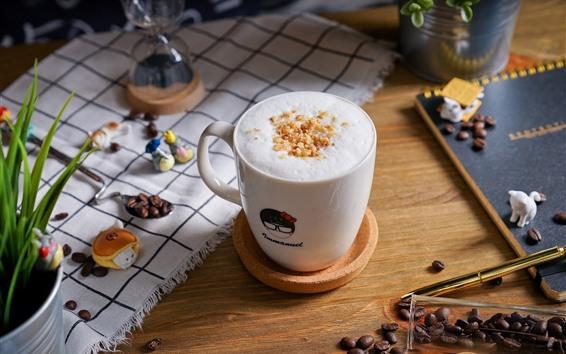 Wallpaper Coffee beans, cup, foam, drinks