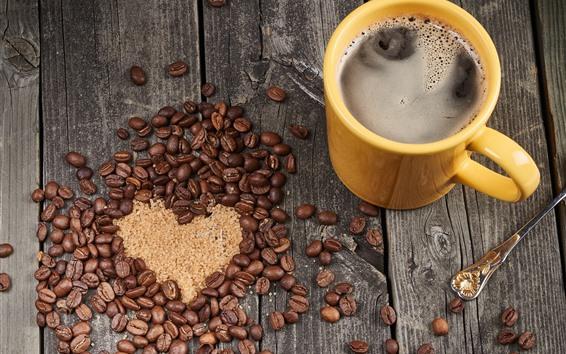 Wallpaper Coffee beans, love heart, cup, drinks