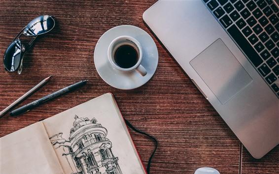 Wallpaper Coffee, cup, notebook, book, sunglasses, pen, still life