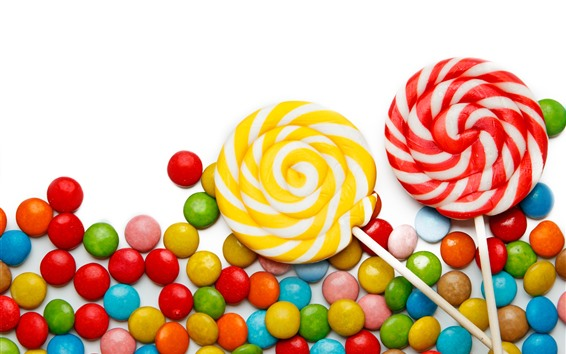 Wallpaper Colorful candy, lollipops, white background