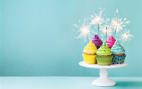 Wallpaper Colorful cupcakes, cream, fireworks, sparks, Birthday