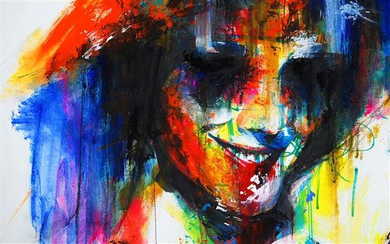 Papéis de Parede Pintura colorida, cara, sorrir