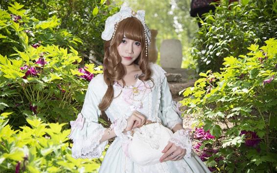 Wallpaper Cosplay girl, white skirt, flowers
