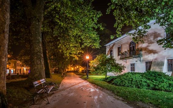 Papéis de Parede Croácia, Samobor, noite, casas, árvores, caminho, banco, luzes
