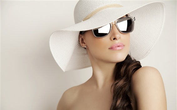 Wallpaper Curly hair girl, hat, sunglass