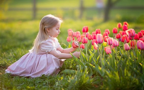 Wallpaper Cute blonde little girl, pink tulips