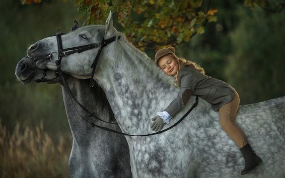 Papéis de Parede Menina bonitinha dormir a cavalo