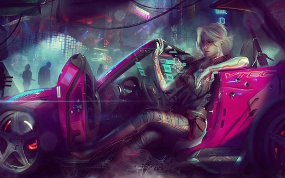 Fondos de pantalla Cyberpunk 2077, niña, coche, fotografía artística