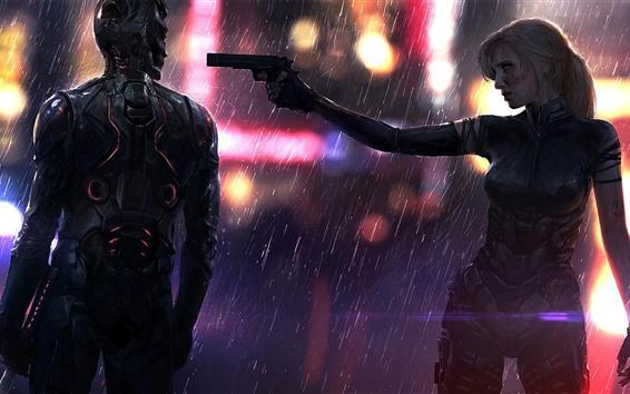Wallpaper Cyberpunk 2077, girl, cyborg, gun, rain