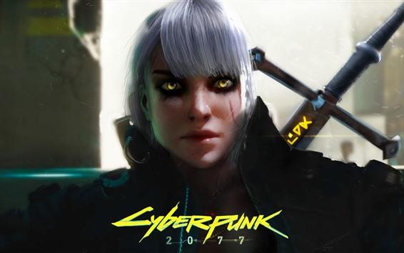 Wallpaper Cyberpunk 2077, girl, witch