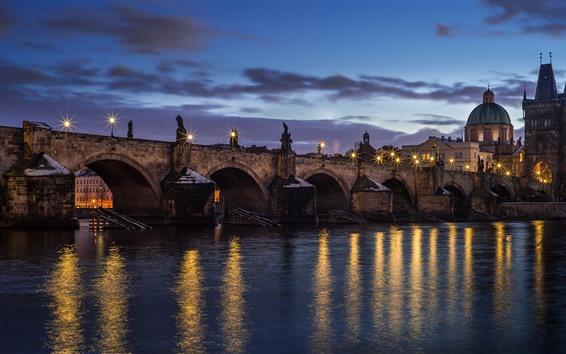 Papéis de Parede República tcheca, praga, ponte, rio, luzes, noturna, cidade