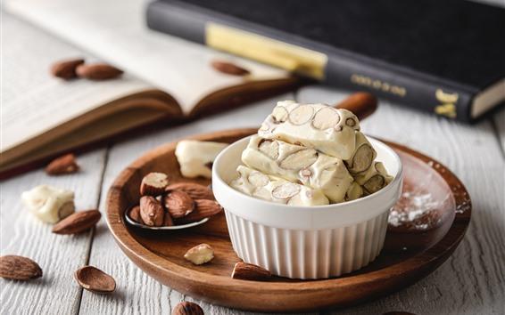 Wallpaper Dessert, almonds, nuts, sweet food