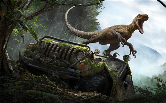 Wallpaper Dinosaur, broken car, forest, art picture