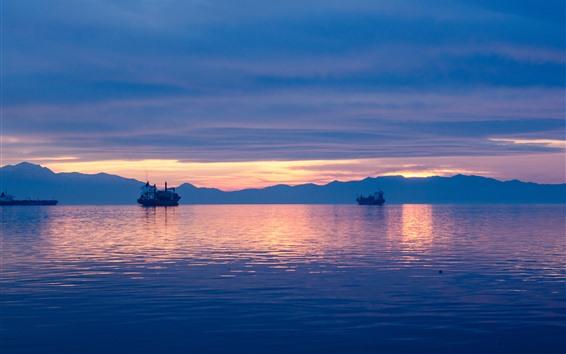 Wallpaper Dusk, sea, ship