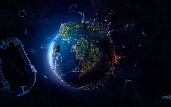 Wallpaper Earth, roads, city, planets, space, creative picture