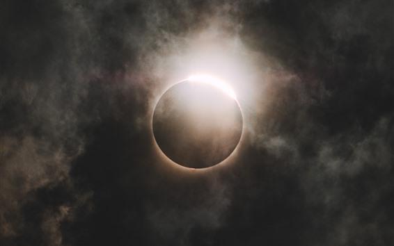 Wallpaper Eclipse, moon, clouds, night, sky