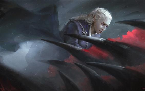 Fond d'écran Emilia Clarke, le trône de fer, dragon, photo d'art