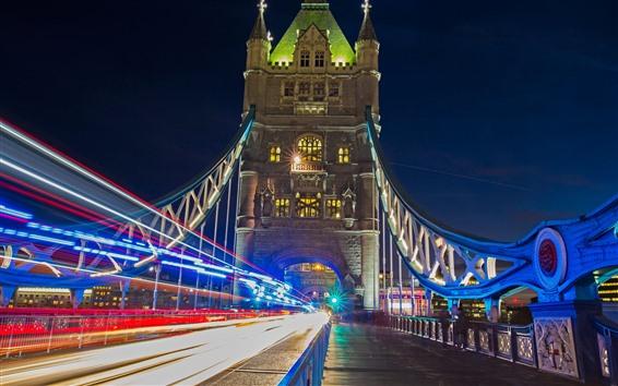 Wallpaper England, London, Tower bridge, light lines, city, night
