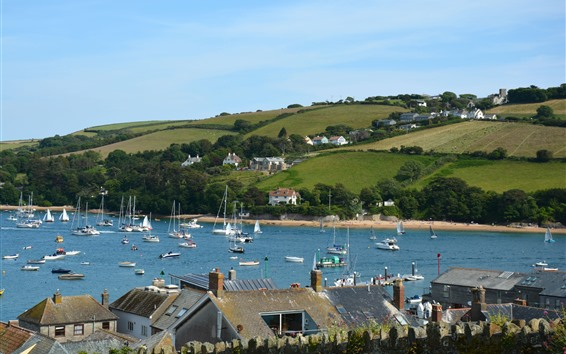 Wallpaper England, yachts, boats, village, houses, fields