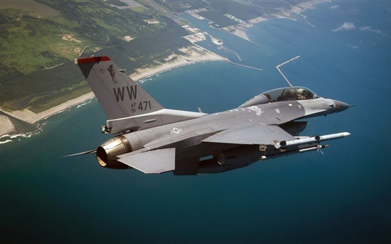 Обои F-16 Борьба сокол, море, небо