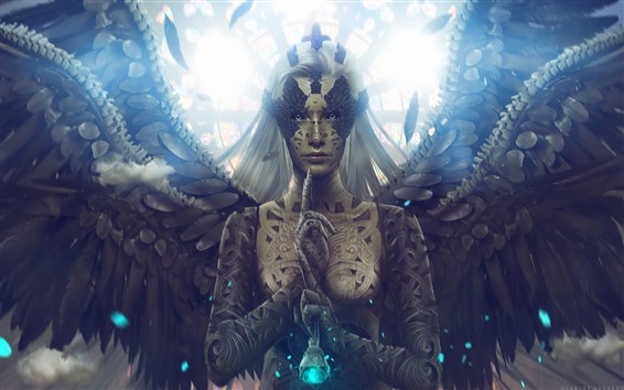 Papéis de Parede Fantasia menina, anjo, asas, cabelos brancos