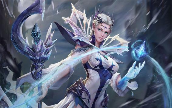 Обои Девушка-фантазия, голубые глаза, лед, магия