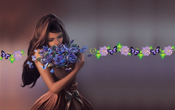 Wallpaper Fantasy girl, brown hair, flowers, butterfly