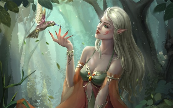 Fond d'écran Fille fantastique, elfe, yeux verts, colibri, photo d'art