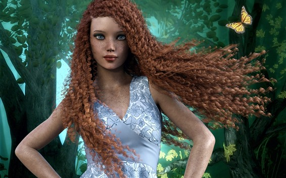 Wallpaper Fantasy girl, freckles, curly red hair, butterfly