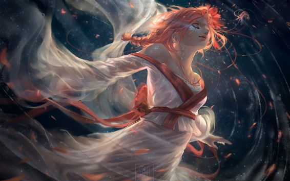 Wallpaper Fantasy girl, kimono, red hair, art picture