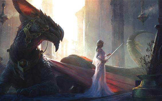 壁紙 ファンタジーガール、白いスカート、ドラゴン、アート写真