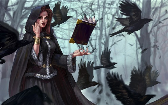 Wallpaper Fantasy girl, witch, book, crow