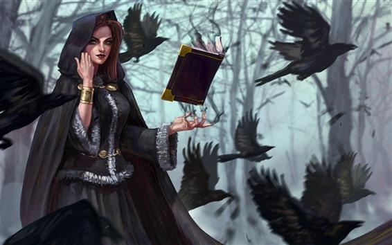 Fond d'écran Fille fantastique, sorcière, livre, corneille