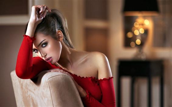Wallpaper Fashion girl, red dress, room