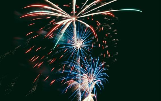 Wallpaper Fireworks, night, holiday
