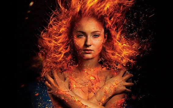 Wallpaper Flame girl, fire, crack, fantasy