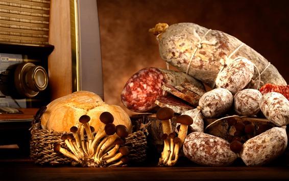 배경 화면 음식, 소시지, 버섯, 빵