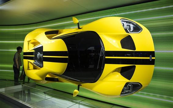 Обои Форд желтый суперкар, автосалон