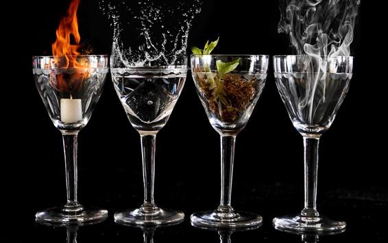 Papéis de Parede Quatro copos de vidro, chama, fumaça, água, planta
