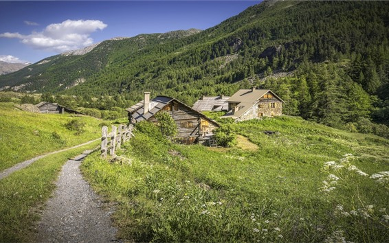 Wallpaper France, Alps, houses, trees, mountains