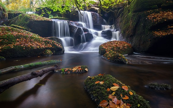 Wallpaper France, Brittany, waterfall, stones, leaves, moss, creek