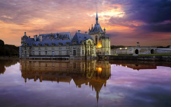 Wallpaper France, Chantilly castle, water, clouds, dusk