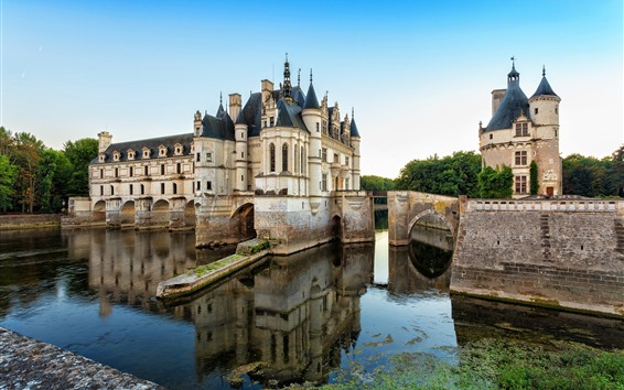 Wallpaper France, Chenonceau, castle, pond, water