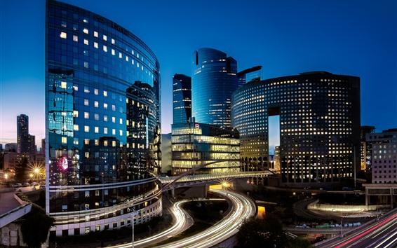 Papéis de Parede França, paris, cidade, noite, luzes, estradas, edifícios
