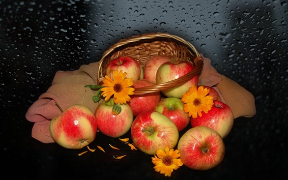 Wallpaper Fresh red apples, basket, water droplets
