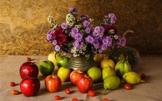 Обои Фрукты, зеленые и красные яблоки, груши, тыква, цветы, натюрморт