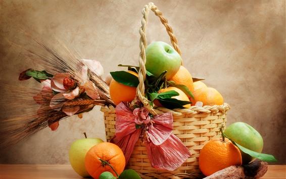 Обои Фрукты, апельсины, яблоки, корзина