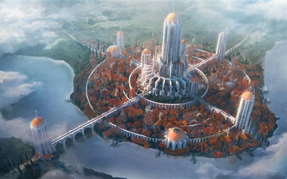 Papéis de Parede Futuro, cidade, torre, ponte, rio, nuvens, imagens de arte
