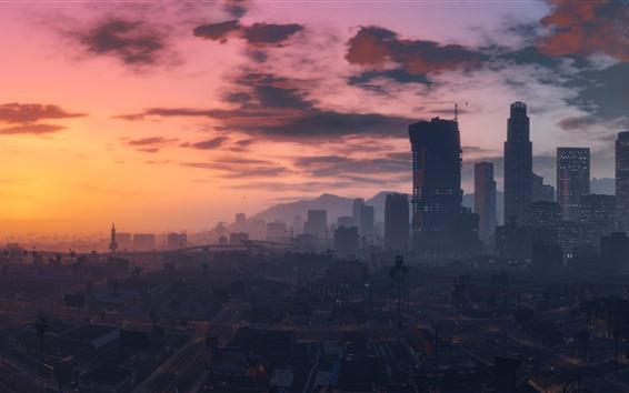 Wallpaper GTA V, city, buildings, art picture