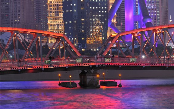 Wallpaper Garden Bridge of Shanghai, China, river, illumination, city, night